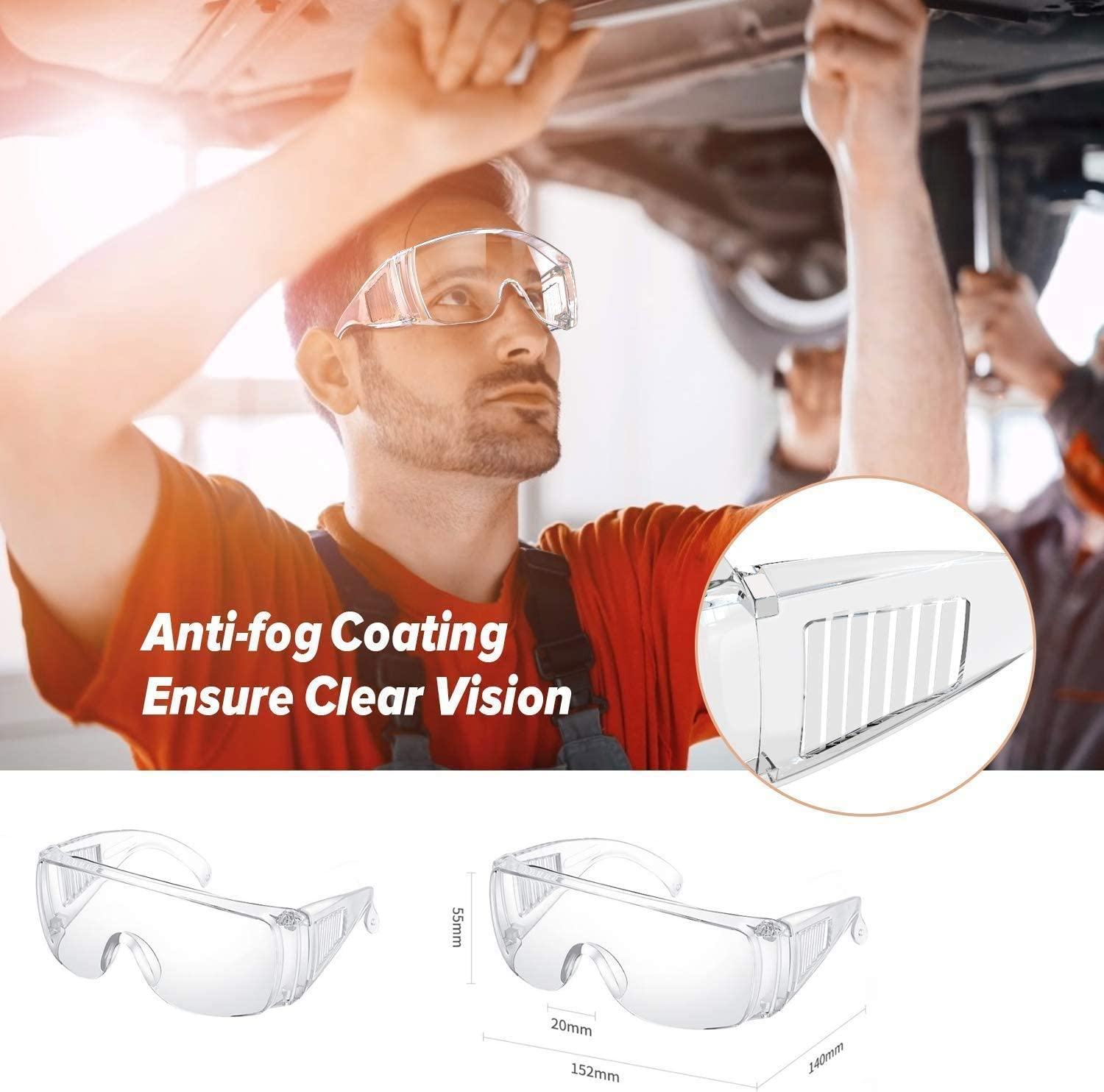 Safety Glasses,Bestwin Protective Safety Goggles Anti-Fog Safety Glasses for Unisex Eye Shield Spectacles(3 Pack)