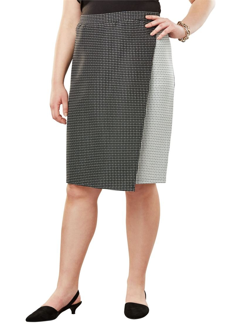 Jessica London Women's Plus Size Faux Wrap Skirt Jacquard Ponte,14/16