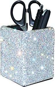 Crystal Pencil Pen Pot Holder Box Bling Rhinestone Pen Organizer Holder Cosmetic Pen Container Comb Brushes Personalized (Square)