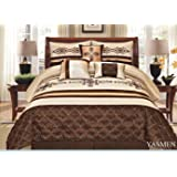 7 Pieces Complete Bedding Ensemble Beige Brown Gold Luxury Embroidery Comforter Set Bed-in-a-bag Queen Size Bedding- Yasmen