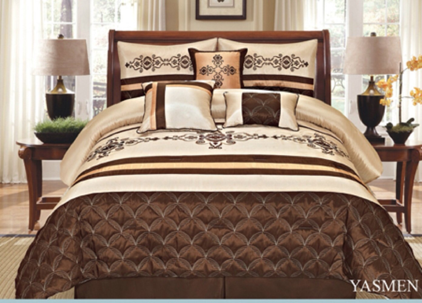7 Pieces Complete Bedding Ensemble Beige Brown Gold Luxury Embroidery Comforter Set