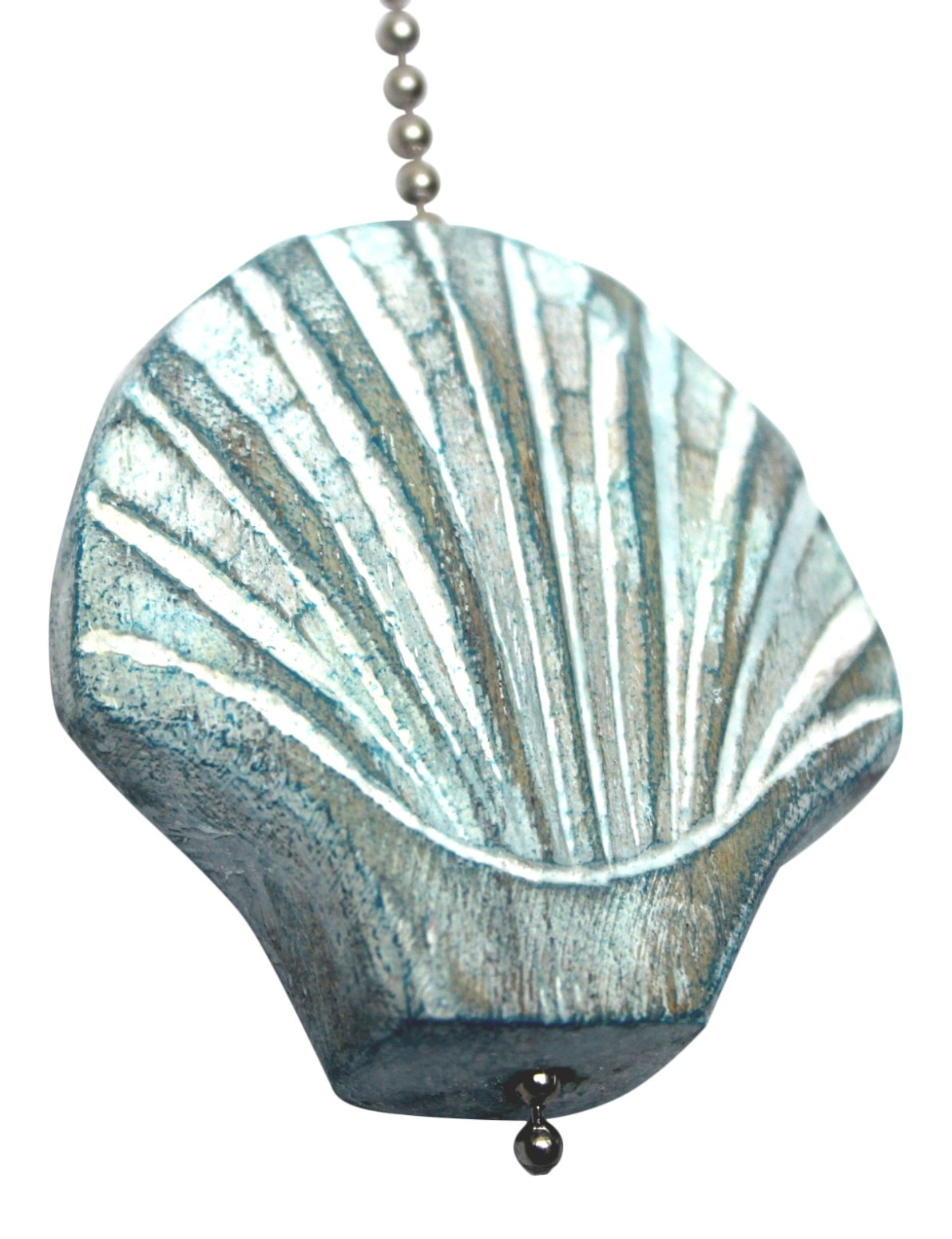 Aqua Scallop Shell Hand Carved Wood Ceiling Fan Light Pull by MTI (Image #2)