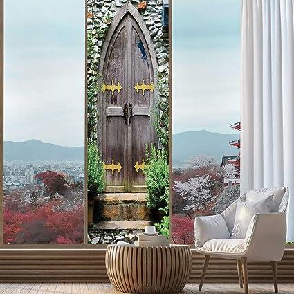 YOLIYANA El Efecto Visual del Vidrio Texturizado y vidriera rústica, es Bueno para Largo año bajo el Sol, Puerta de Madera Tradicional con Vertical y Cruz,: Amazon.es: Hogar