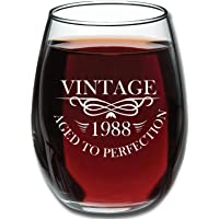 Birthday 15oz Stemless Wine Glass- Vintage Aged To Perfection - Unique Anniversary Gift Idea for Best Friend, Mom, Dad, Wife, Husband, Sister, Women, Men - Perfect Gifts from Son