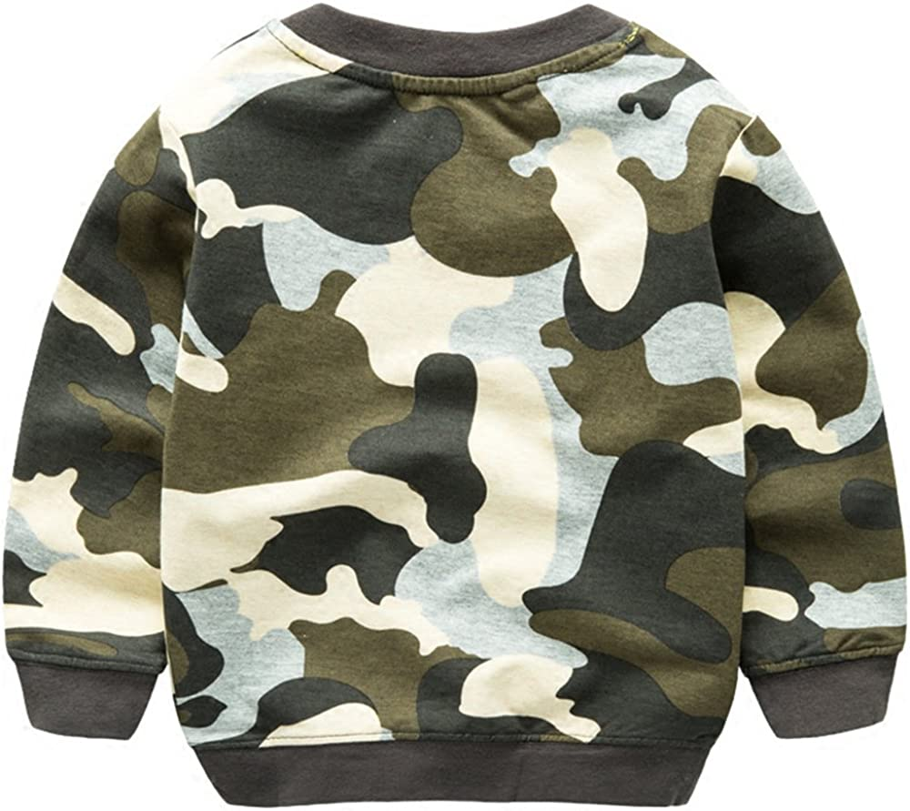 Baby Boys Toddler Kids Bulldozer Embroidery Camouflage Sweatshirt