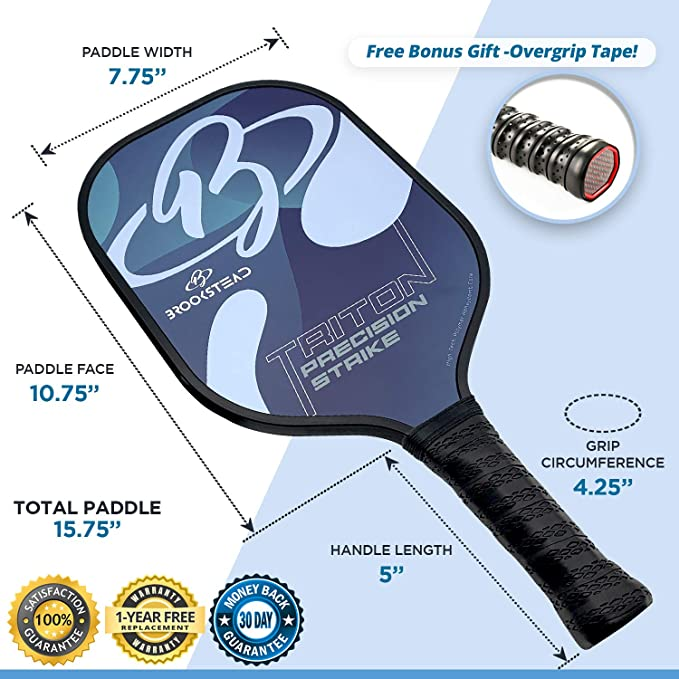 Brookstead Pickleball Paddle, Graphite Face, Polymer Honeycomb Core, Low Profile Edge Guard, Non Slip Grip, Racket Cover and Bonus Overgrip Included, ...