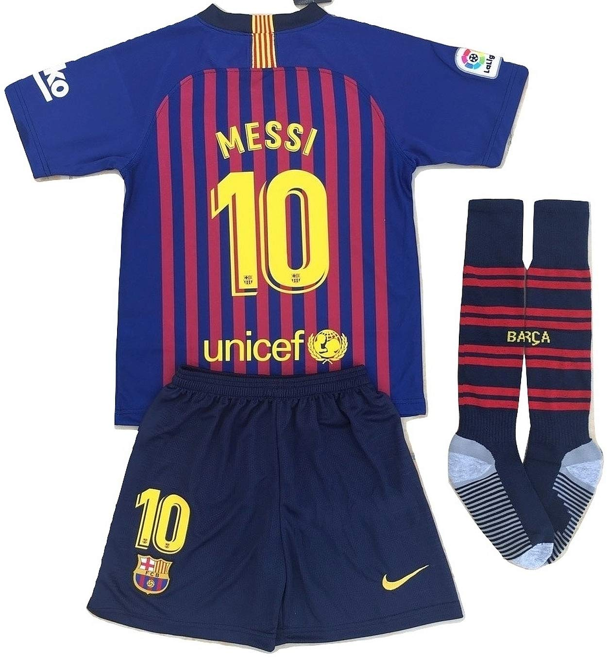 MSK-Store Messi #10 FC Barcelona 2018-2019 Youths Home Soccer Jersey, Shorts & Socks Set (11-13 Years Old)