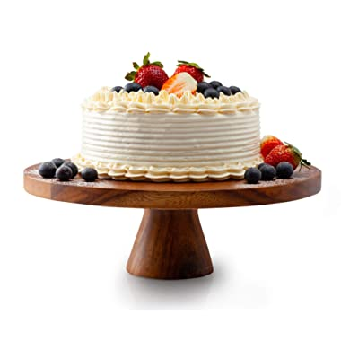 Acacia Wood Cake Stand, Wedding Cake Pedestal, Cupcake Server, 12  x 4 -Hand Made of Organic Acacia Wood, Food Safe