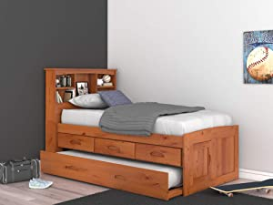 Discovery World Furniture 2120-82192EKT-2190 Captain's Bed, Twin, Honey