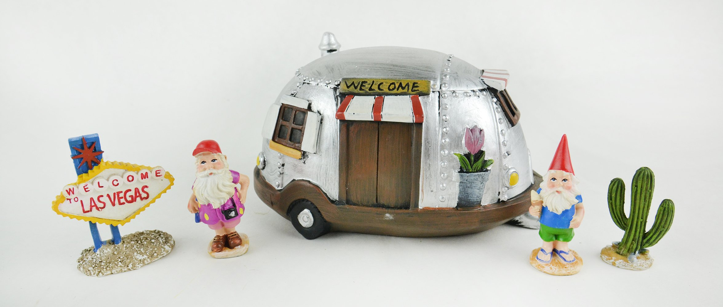 Fairy Garden Sets in Resin with Fine Detailing (Welcome to Las Vegas Sign Camper and Gnomes) by Clever Home (Image #2)