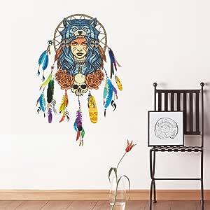 Amazon.com: Zooarts Dream Feathers Indian Wolf Head Wall