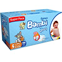 Sanita Bambi Baby Diapers Super Pack, Size 5, X-Large, 13-25 kg, 108 Count