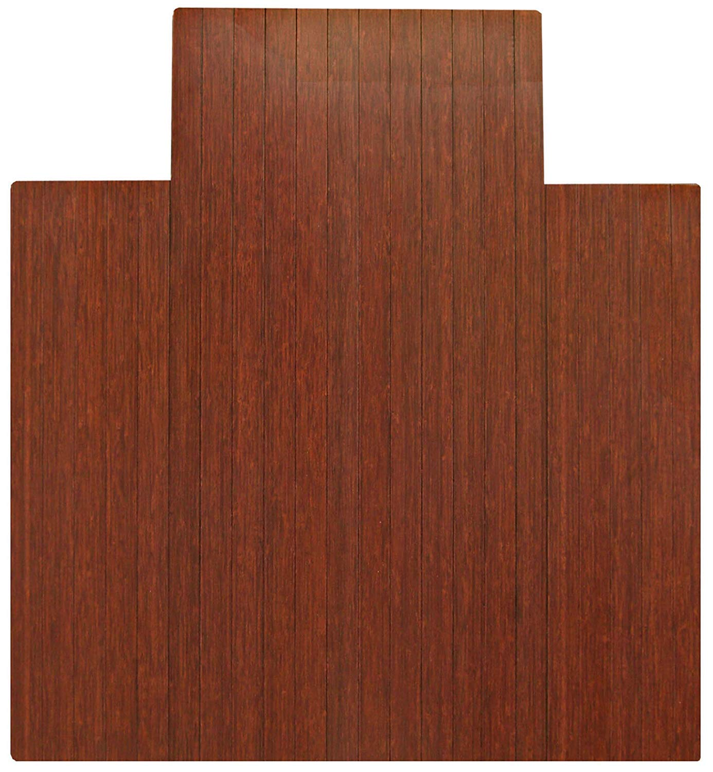 """Anji Mountain Bamboo Roll-Up Chair Mat with Lip, Dark Cherry, 44 x 52"""", 5mm Thick"""