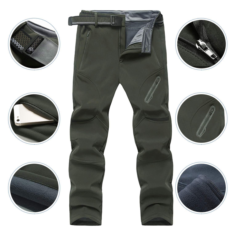con Cintura Ynport Crefreak Pantaloni da Trekking Invernali da Uomo in Pile Pantaloni da Sci da Snowboard in Montagna Softshell