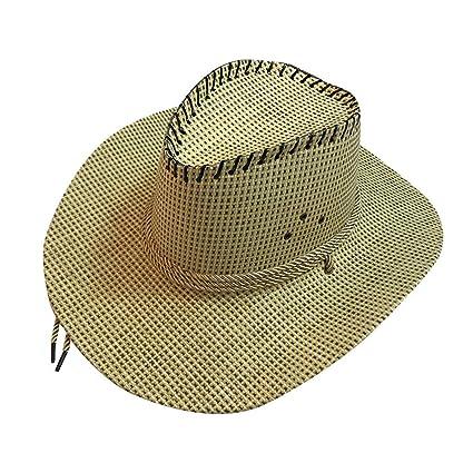 cb15e87fc43dd7 LLYWEY Unisex Western Cowboy Hat Wide Brim Panama Style Sun Beach Hat  Summer Outdoor Hat Packable