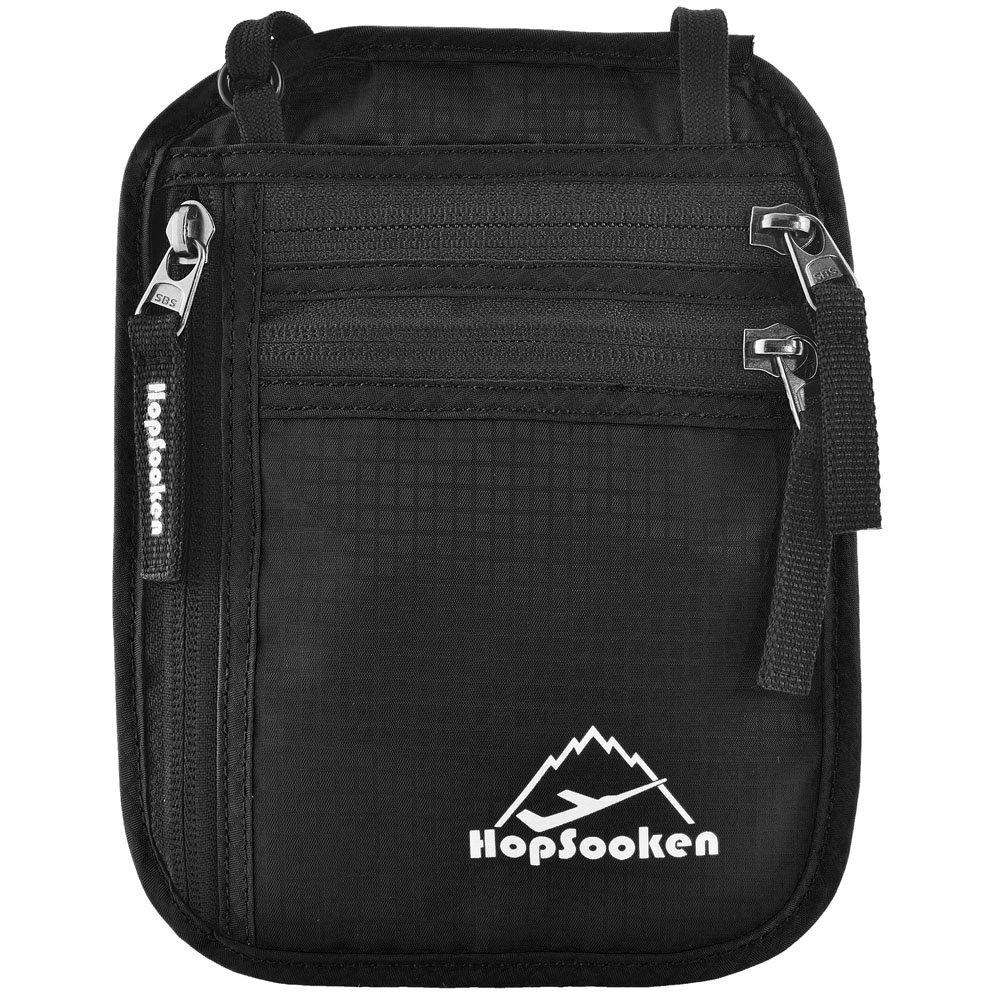 Hopsooken Passport Holder Neck Pouch With RFID Blocking Travel Wallet, Travel Wallet or Hidden Wallet (New Black)