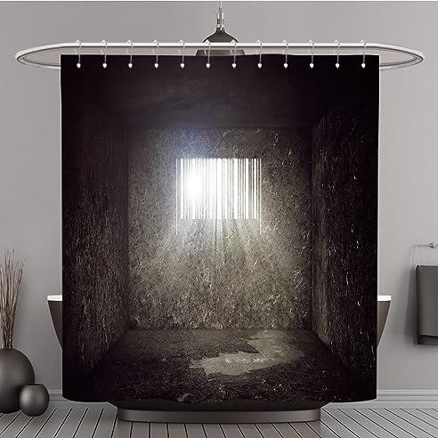 Duschvorhang 250820074 Leer Beton Gefängnis Zelle Mit Bar Code Geformte  Fenster Und Sonnenstrahlen Und Sun Flare