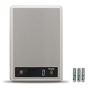 Finuki Báscula Digital de Cocina, 5 kg, de Acero Inoxidable, con Gran Pantalla LCD, Balanza de Alimentos, Multifuncional, Color Plata (Baterías Incluidas): ...