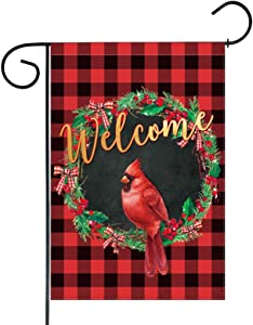 Funnytree Red Cardinal Bird Garden Flag Merry Christmas Wreath Buffalo Plaid Outdoor Decor Xmas Winter New Year Welcome Yard Flags Farmhouse Decoration Vertical Double Sided 12x18in