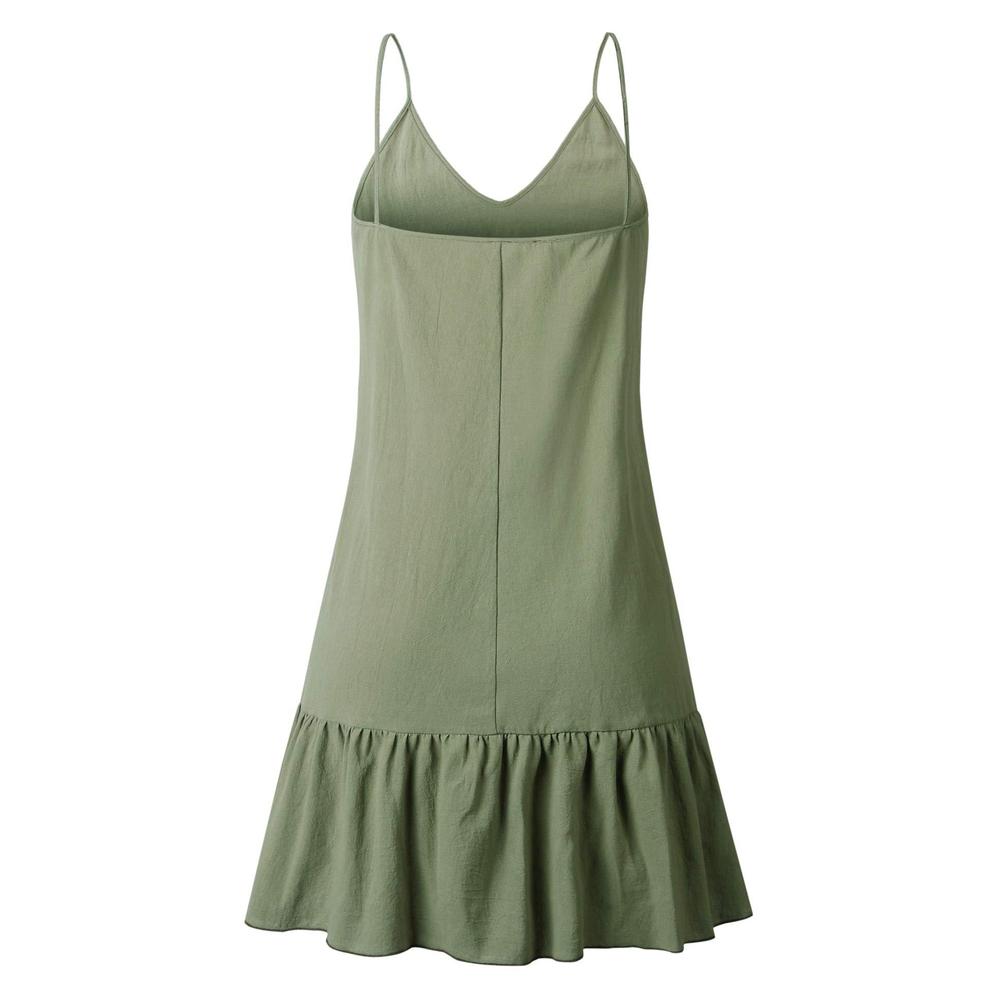Annystore Women\'s Sleeveless Shift Dress - Spaghetti Strap V Neck Floral Print Flowy Ruffle Beach Short Dress Green L
