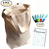 UpBrands Canvas Tote Bag DIY Kit 6 Pack Pure Color Suitable for Party Favors Gift Goodie Bags Small Shopping Grocery (Sturdy 10 Oz) Included 6 Pack A5 Inkjet Transfer Paper and 6 Colors Wax Crayons