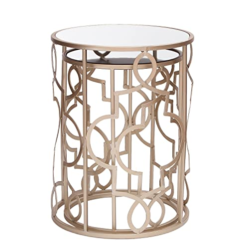 ELEGAN Luxury Classic Metal Accent Nesting Side End Table Set of 2 Golden Classic