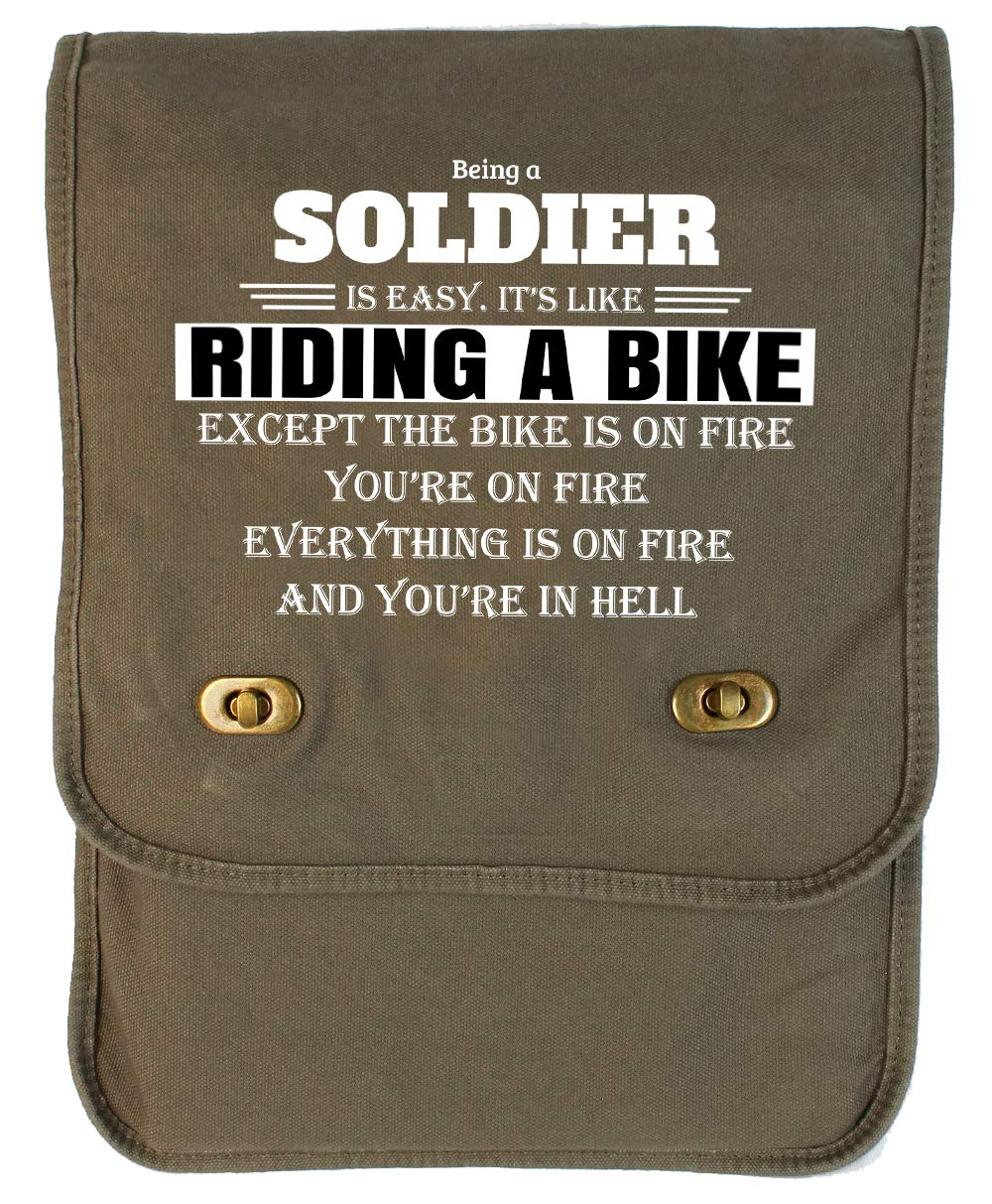 Tenacitee Being a Soldier Green Brushed Canvas Messenger Bag