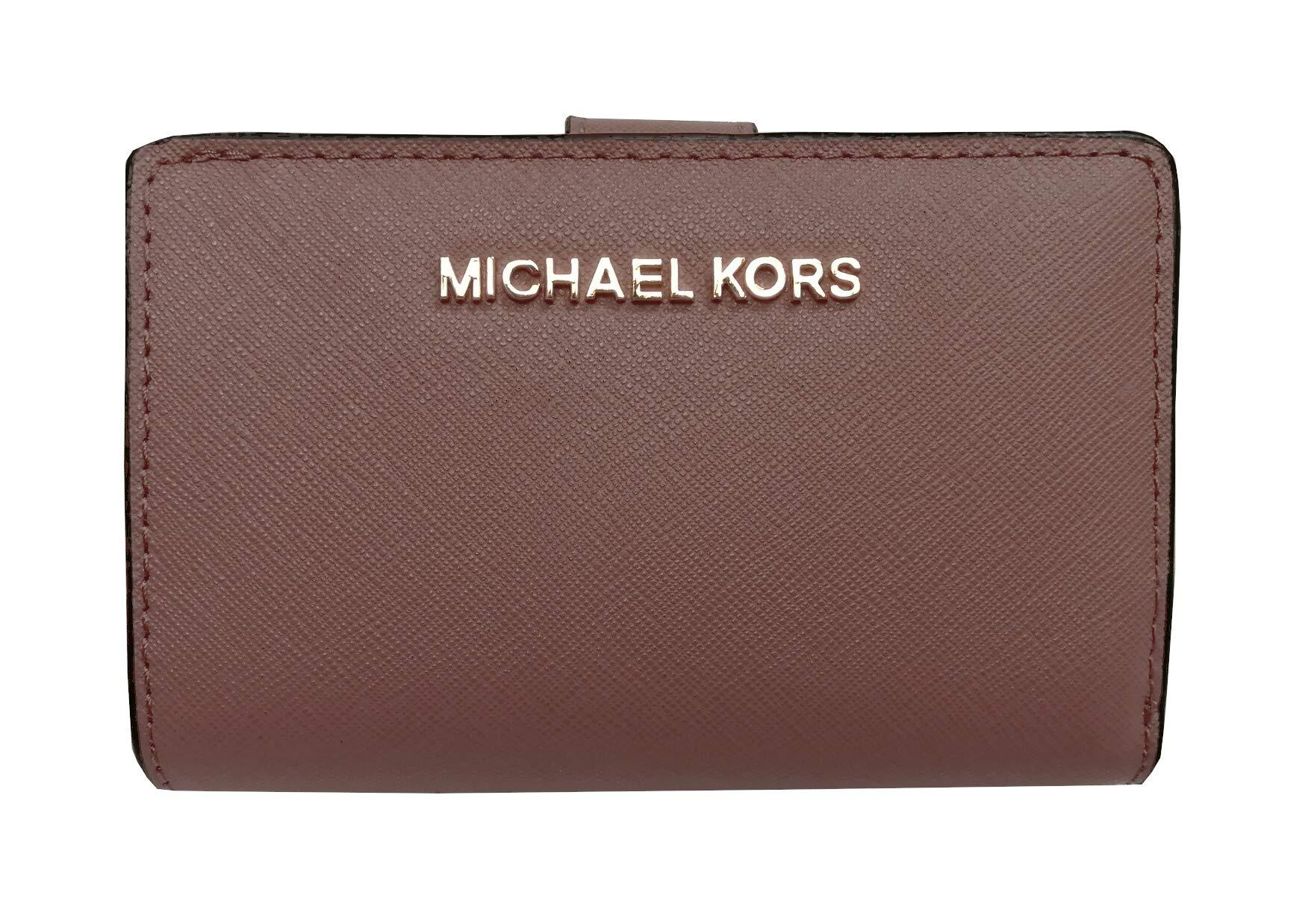 Michael Kors Jet Set Travel Saffiano Leather Bifold Zip Coin Wallet (Dusty Rose)