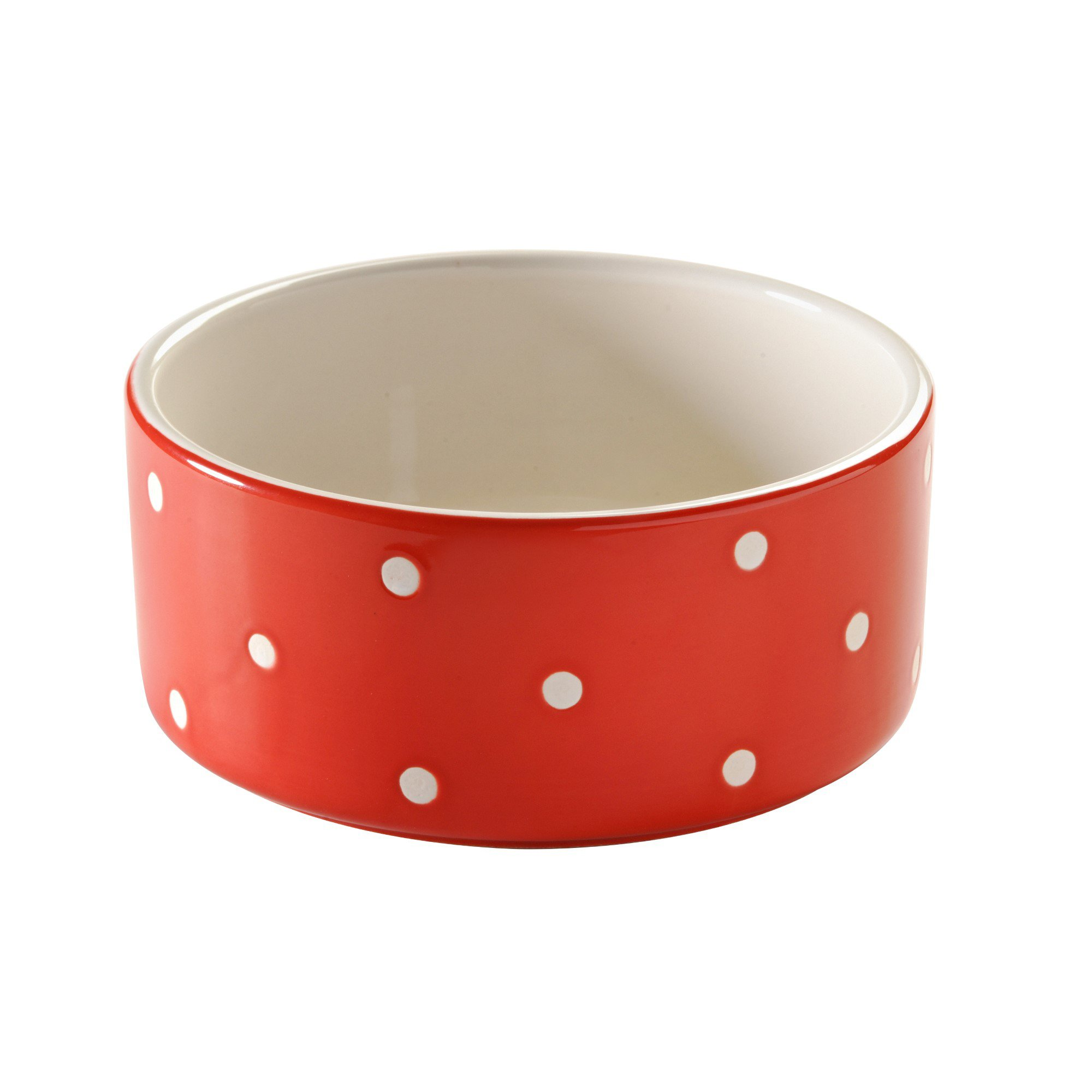 Mason Cash Polka Dot Ceramic Dog Bowl, 7-Inches, 64-Fluid Ounces, Red, White