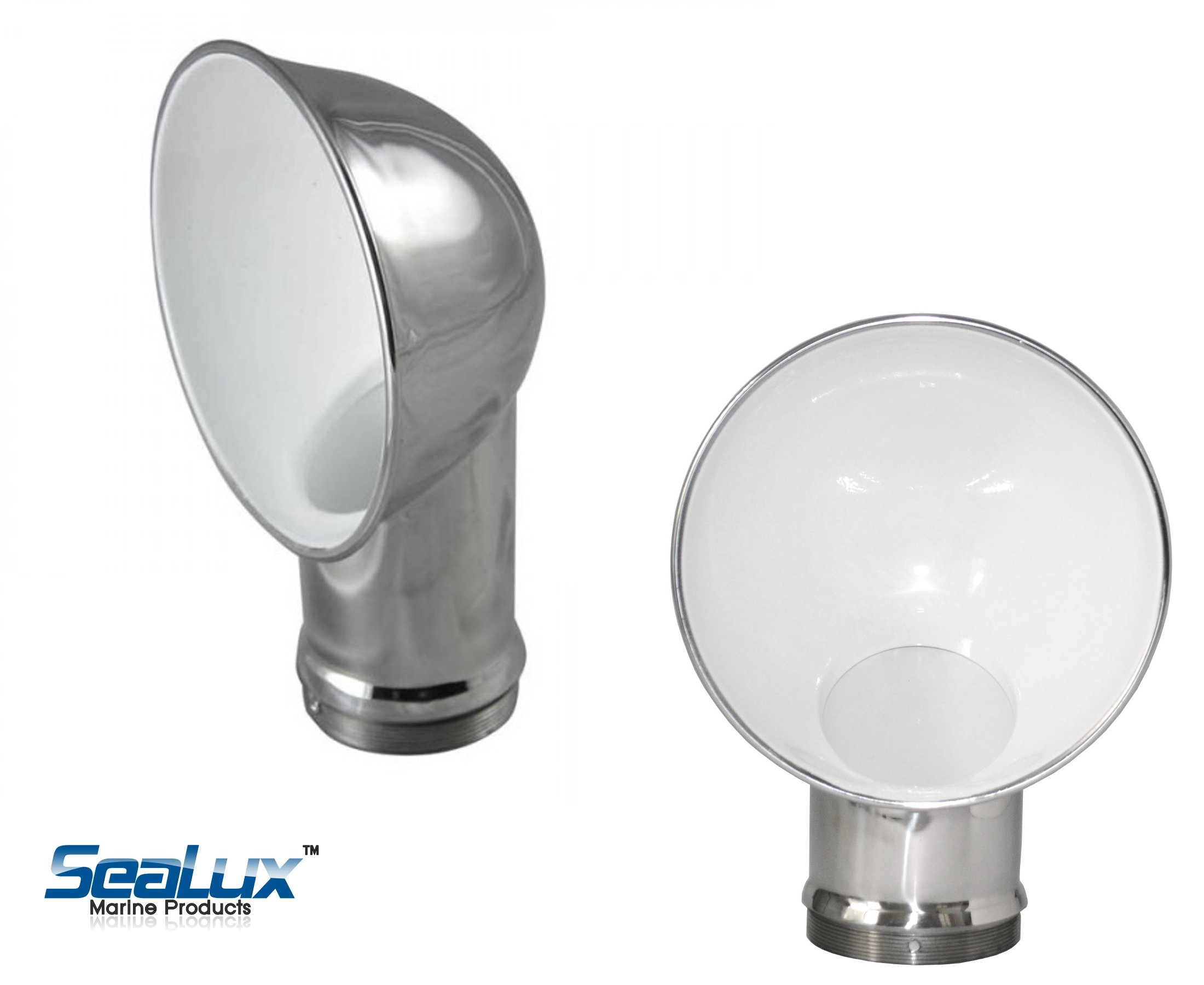 "SeaLux 3'' Round Stamped 316 Stainless Steel Cowl Vent in White, Dorade Box vent (Plate O.D. 3"")"
