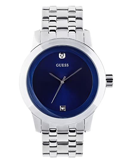 Amazon.com: Guess Blue and Silver-Tone Diamond Dress Watch: Guess: Watches