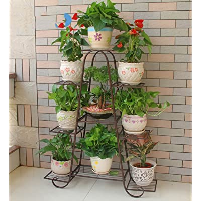 YJXJJD 9-Storey Flower Stand Oversized Wrought Iron Indoor Floor Pot Rack (Color : Bronze, Size : 104cm): Garden & Outdoor