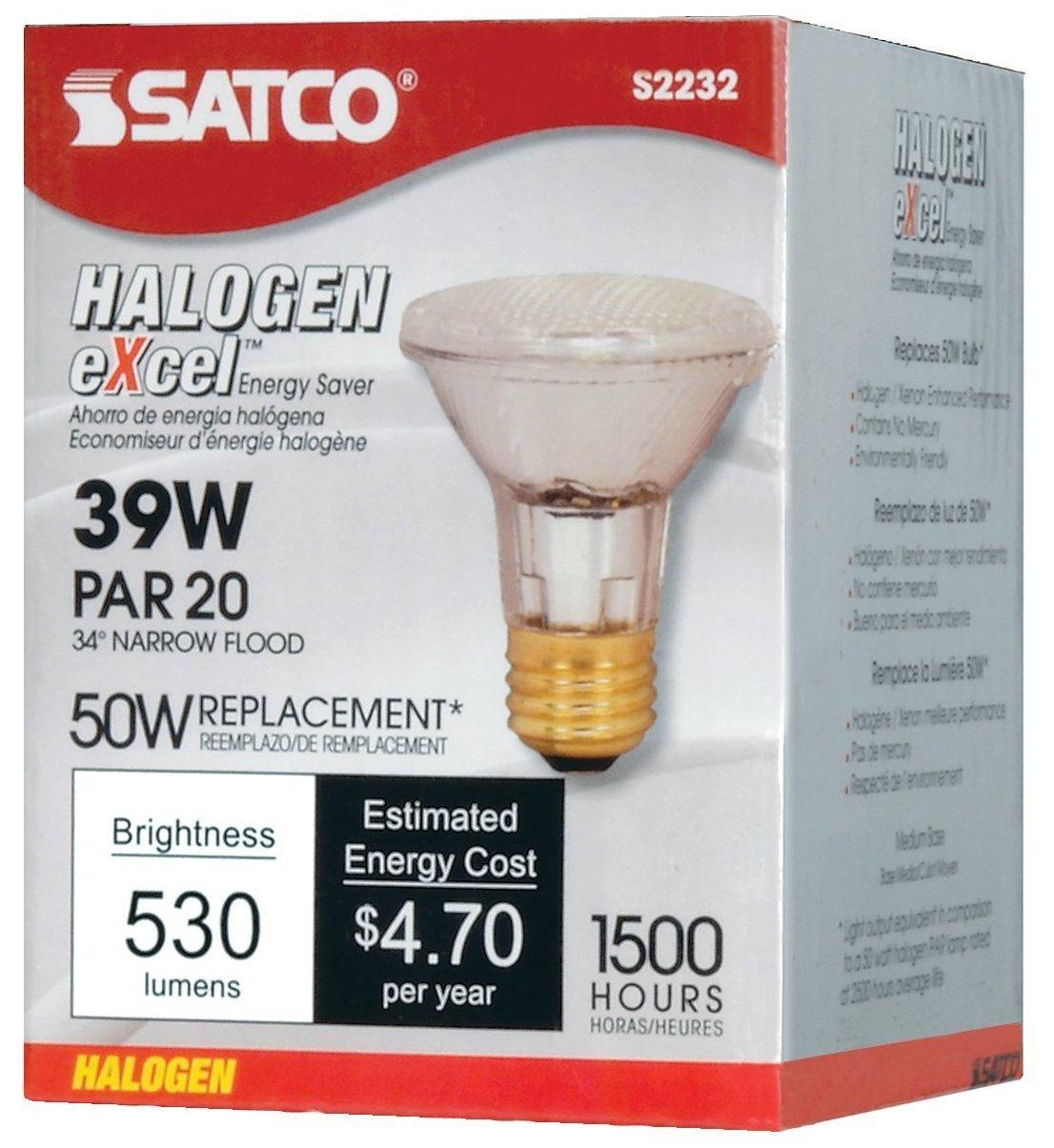50 Watt 530 Lumens PAR20 Halogen Narrow Flood 34 Degrees Clear Light Bulb Satco 39 Watt Dimmable -34/° Beam // 120V-2 Pack