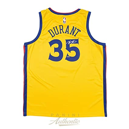 Kevin Durant Autographed Nike Golden State Warriors Yellow quot City  Edition quot  Swingman Jersey ~Open 85e88f3fe