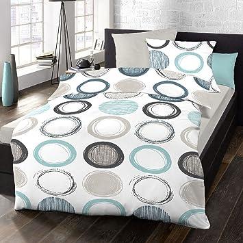 Schlafgut Bettwäsche Single Jersey Blau Weiß Größe 135x200 Cm 80x80