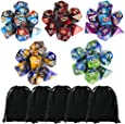 35 Pieces Polyhedral Dice, Double-Colors Polyhedral Game Dice with 5 Pack Black Pouches for RPG Dungeons and Dragons Pathfinder DND RPG MTG D20 D12 D10 D8 D4 Table Game