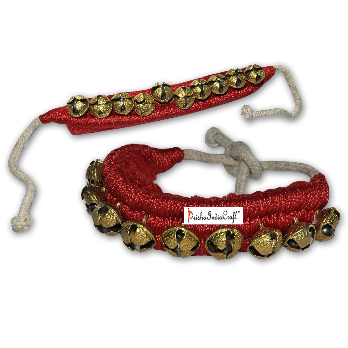 Prisha India Craft ® Kathak Ghungroo (16 No. Ghungroo) (1) One Line Big Dancing Bells Ghungroo Pair Handmade Indian Classical Dance Accessories Bharatnatyam, Kuchipudi, Odissi Ghungru Red Pad