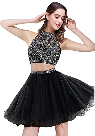 MisShow Crystal Two Piece Prom Dress Short Girls Homecoming Party Dress,Black,Size 4