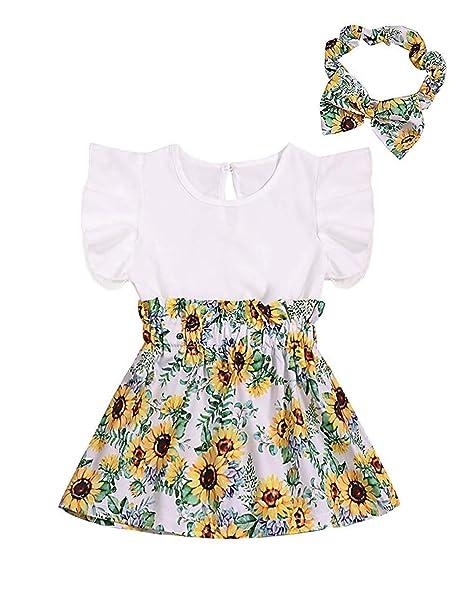 ad24fe5b2c3 Infant Baby Girl Dress Flower Print Ruffled Sleeveless Summer Princess Dress+Cute  Headband Skirt Set