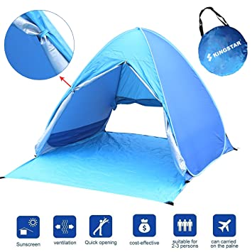 Kingstar Portable Pop Up Beach TentUV 2-3 Person Folding Sun Shelters Waterproof  sc 1 st  Amazon.com : folding pop up beach tent - memphite.com