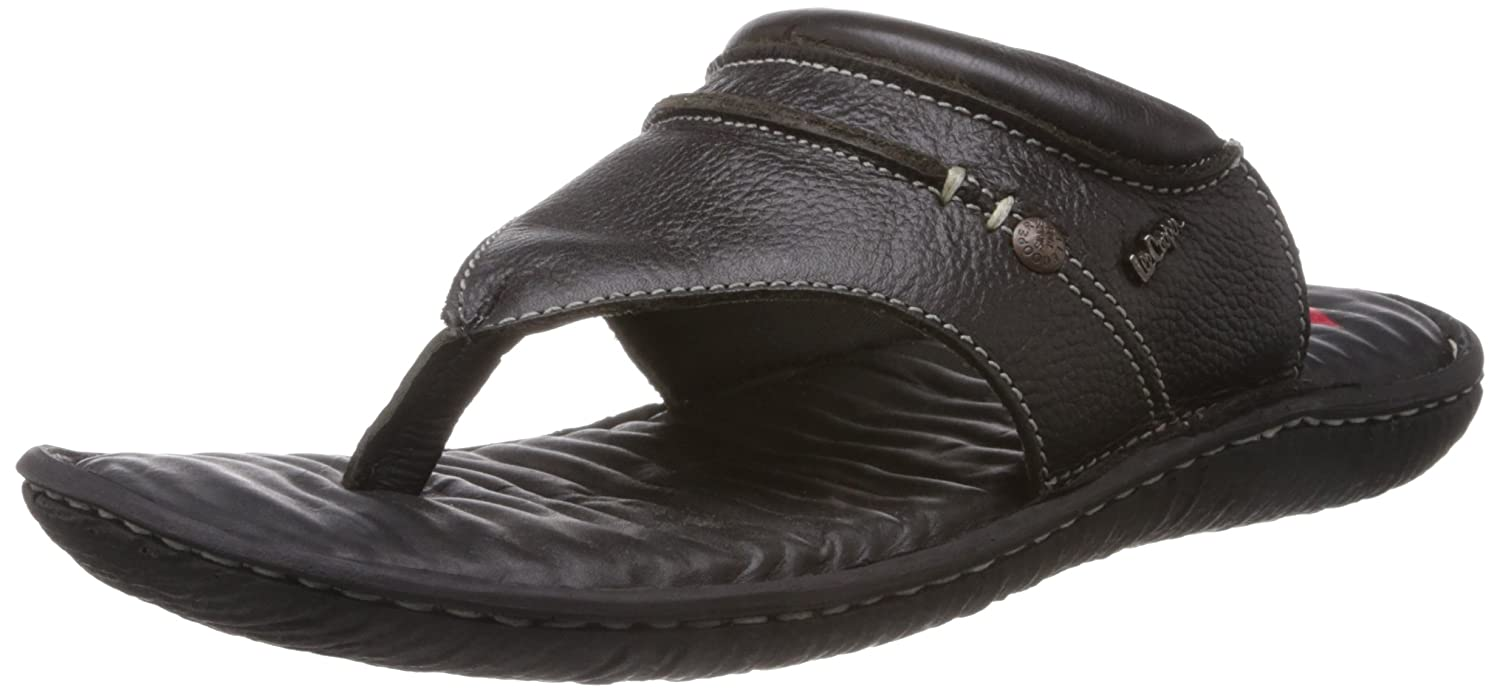 ffe5a18deac5 Lee Cooper Men s Black Leather Flip Flops Thong Sandals - 8 UK  Buy Online  at Low Prices in India - Amazon.in
