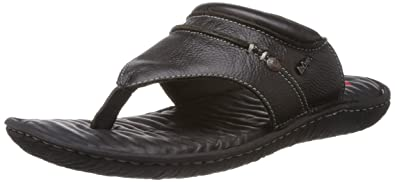 3e74fbb608288 Lee Cooper Men s Black Leather Flip Flops Thong Sandals - 8 UK  Buy Online  at Low Prices in India - Amazon.in