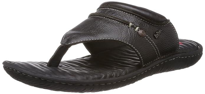 b9810087ba1cf Lee Cooper Men s Black Leather Flip Flops Thong Sandals - 8 UK  Buy Online  at Low Prices in India - Amazon.in