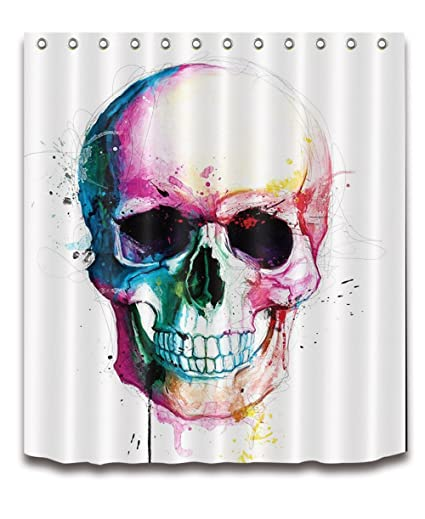 Amazon LB Colorful Halloween Skull Shower Curtains Skeleton