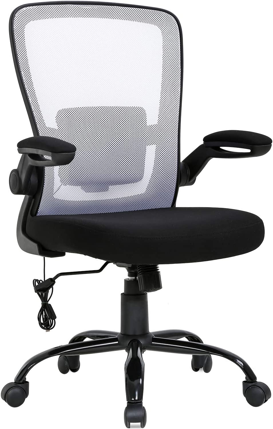 Home Office Chair Ergonomic Desk Chair Massage Computer Chair Swivel Rolling Executive Task Chair with Lumbar Support Flip-up Arms Mid Back Height Adjustable Mesh Chair for Adults(White)