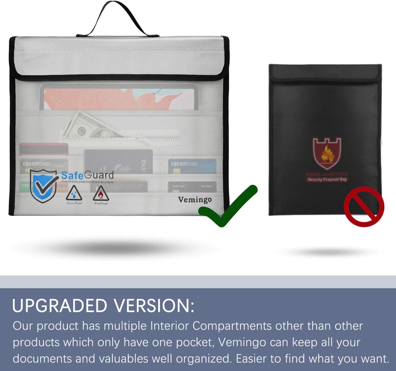Bijoux Vemingo Sac de Rangement /étanche Ignifuge r/ésistant au feu pour Argent Ordinateur Portable Passeport Documents