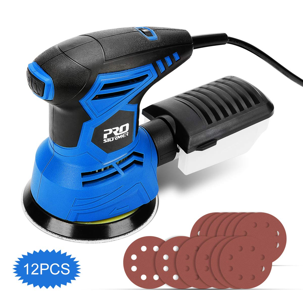 5-Inch Random Orbit Sander with 7 Variable Speed, PROSTORMER 13000RPM Electric Orbital Sander with 12pcs Sander Papers and Effective Dust Collector - Ideal for DIY & Woodworking by Prostormer