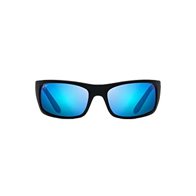 Maui Jim Peahi B202-2M | Polarized Matte Black Wrap Frame Sunglasses, Blue Hawaii