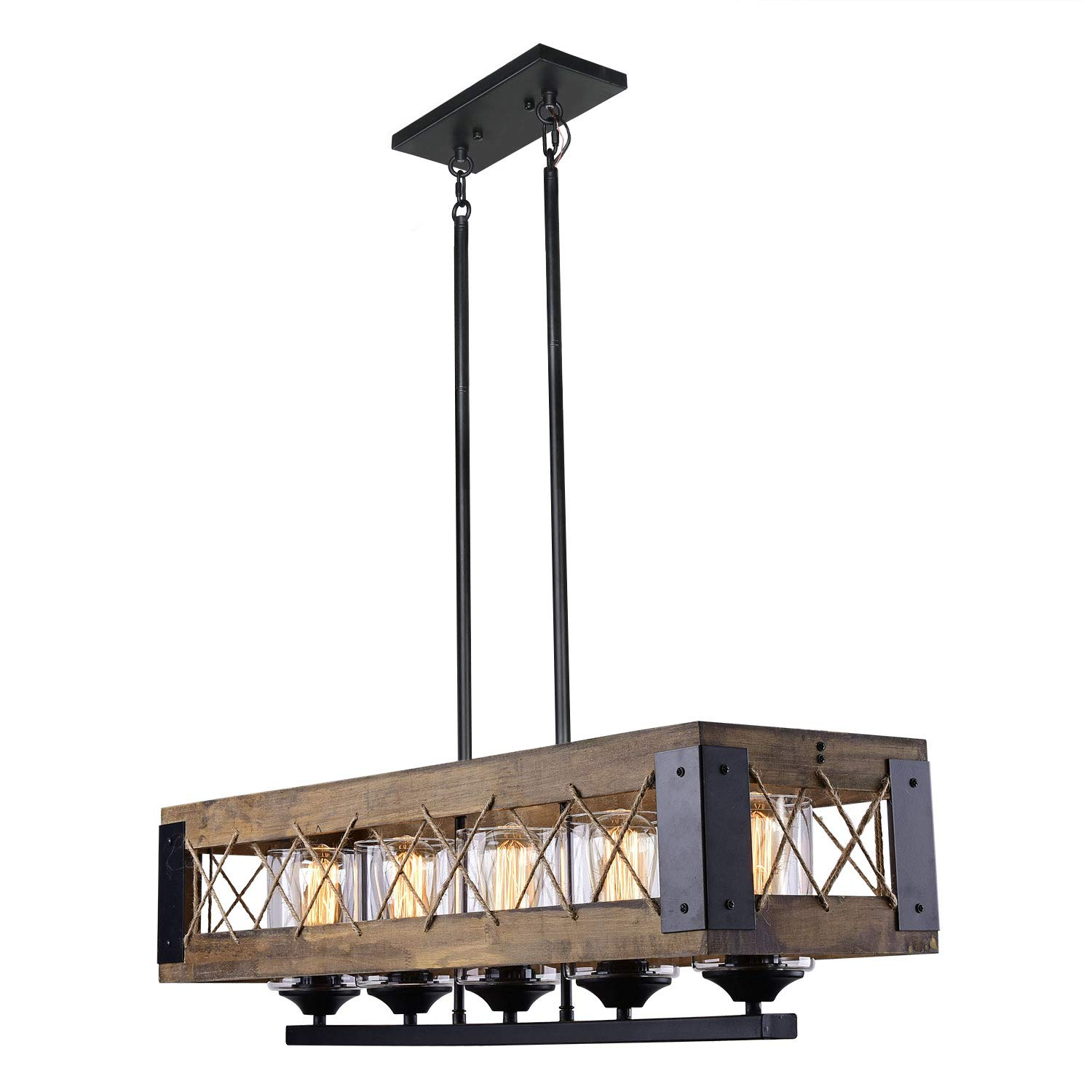LALUZ 5-Light Farmhouse Kitchen Island Lighting Wood Chandeliers for Dining Rooms, A03145