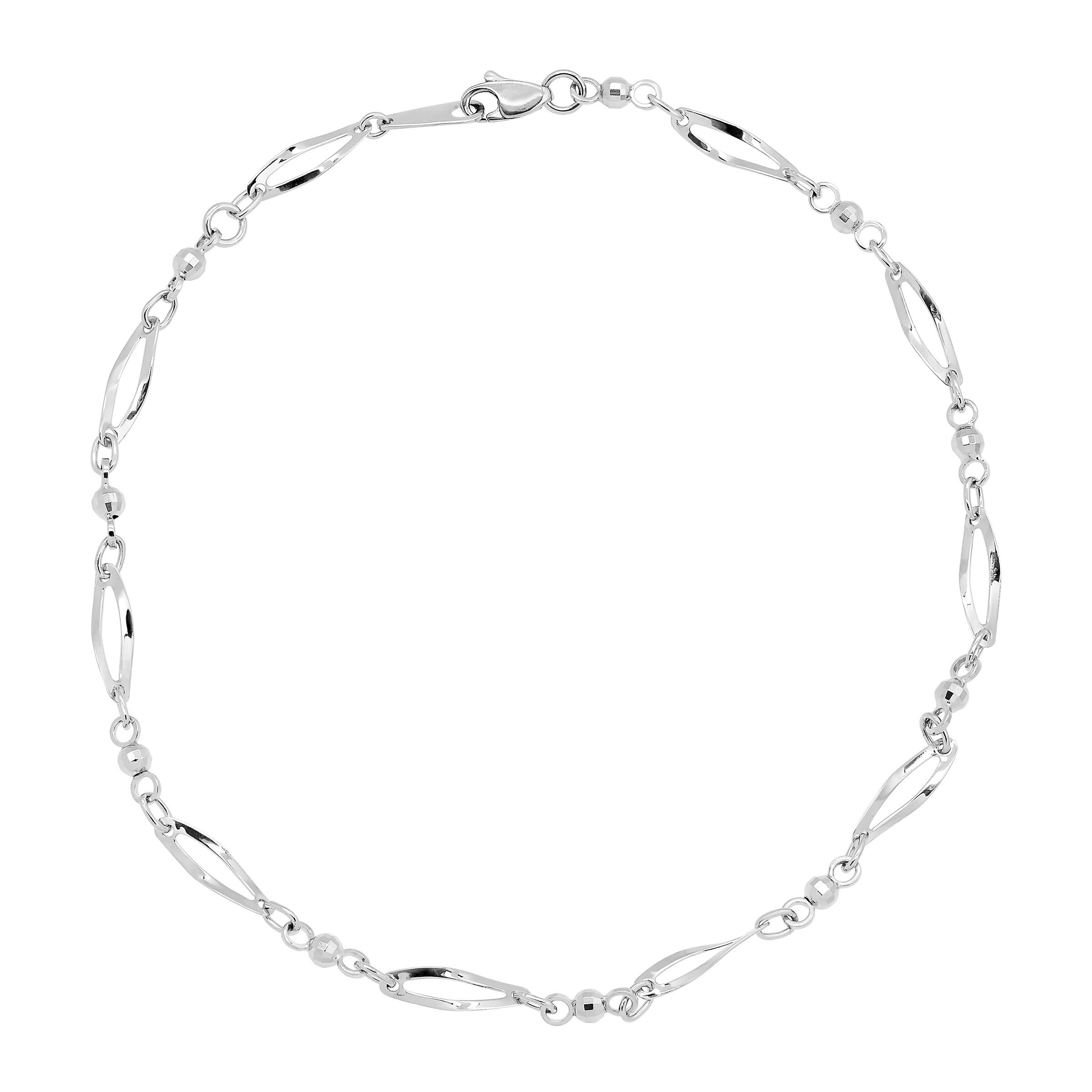 Just Gold Oval & Beaded Link Anklet Bracelet in 10K White Gold